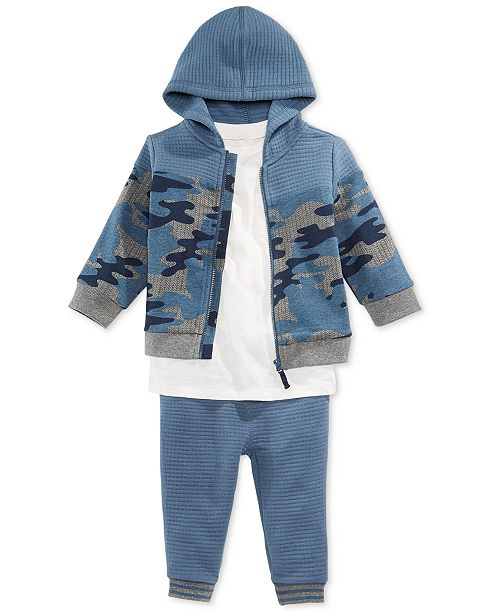 2b2e256be First Impressions Baby Boys Camo-Print Hoodie, Textured T-Shirt & Jogger  Pants