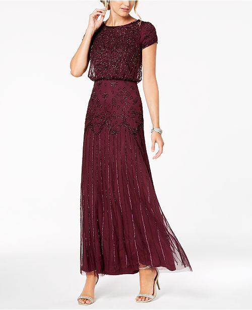 4e020caf221 Adrianna Papell Petite Beaded Blouson Gown   Reviews - Dresses ...