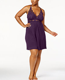 Thalia Sodi Plus Size Lace-Trim Knit Chemise, Created for Macy's