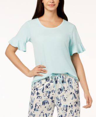 Solid Flounce-Sleeve Pajama Top
