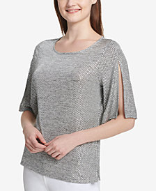 Calvin Klein Woven-Look Split-Sleeve Top