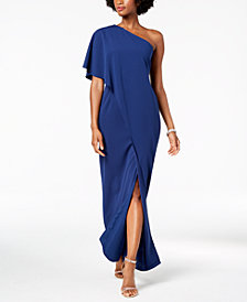 Adrianna Papell Draped One-Shoulder Dress