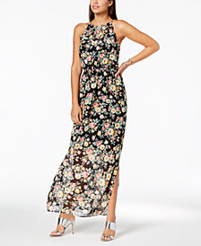 Monteau Petite Floral-Print Halter Maxi Dress, Created for Macy's
