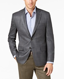 Lauren Ralph Lauren Men's Grey Windowpane Silk and Wool Classic-Fit UltraFlex Sport Coat