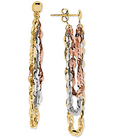Tricolor Flat Link Front & Back Drop Earrings in 10k Gold, White Gold & Rose Gold