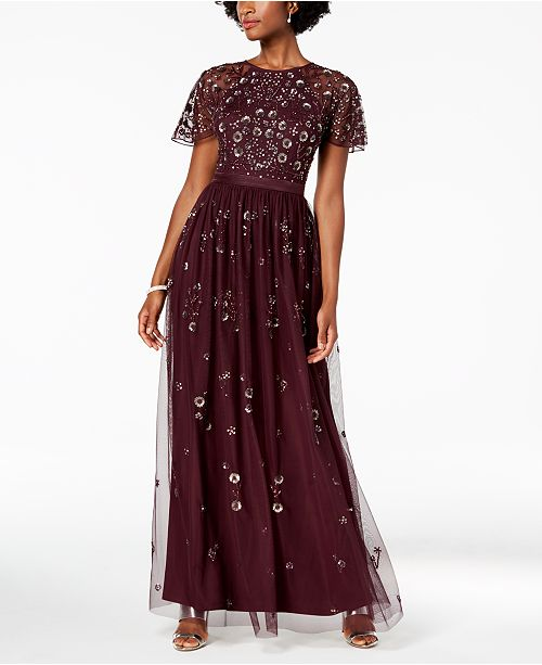 f6e5d010a5f ... Adrianna Papell Floral Sequined Gown