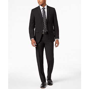 Van Heusen Flex Men's Slim-Fit Stretch Black Neat Suit