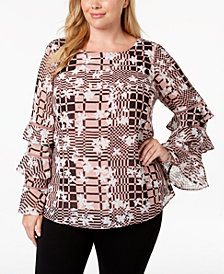 Alfani Plus Size Printed Ruffle-Sleeve Top, Created for Macy's