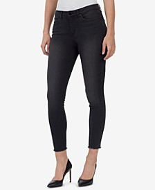 Mid Rise Frayed Ankle Skinny Jeans