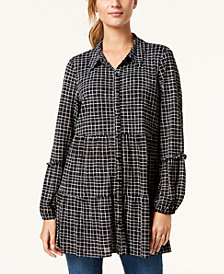 Style & Co Printed Tiered Button-Down Tunic, Created for Macy's