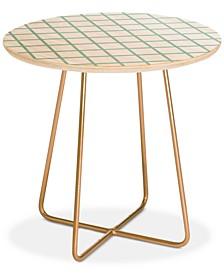 Little Arrow Design Co Mint Grid Round Side Table