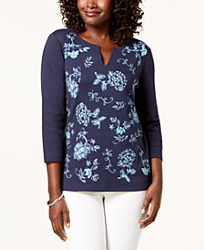 Karen Scott Cotton Embroidered Top, Created for Macy's