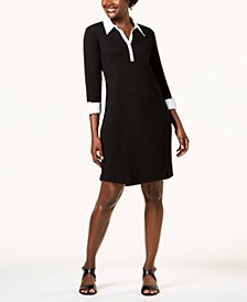 Petite Contrast-Trim Cotton Shirtdress, Created for Macy's