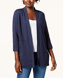 Karen Scott 3/4-Sleeve Open-Front Cardigan, Created for Macy's