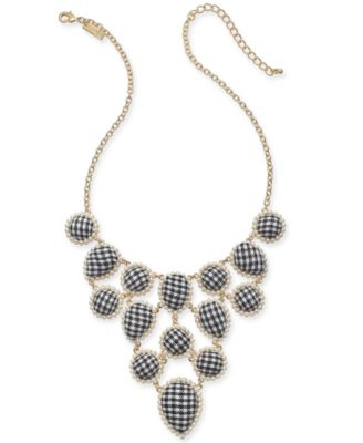 """I.N.C. Gold-Tone Imitation Pearl & Fabric Statement Necklace, 18"""" + 3"""" extender, Created for Macy's"""