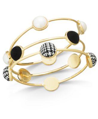 I.N.C. Gold-Tone 3-Pc. Set Imitation Pearl & Fabric Bangle Bracelets, Created for Macy's