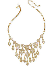 "Thalia Sodi Gold-Tone Filigree 18"" Statement Necklace, 18"" + 3"" extender, Created for Macy's"