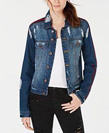 Almost Famous Juniors' Varsity-Stripe Ripped Denim Jacket