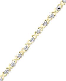 Diamond Accent Heart & X Link Bracelet in 18k Gold-Plate & Silver-Plate