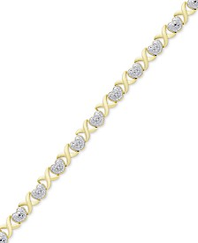 Diamond Accent Heart & X Link Bracelet in 18k Gold-Plate & Silver-Plate