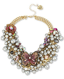 "Betsey Johnson Gold-Tone Stone Butterfly & Shaky Imitation Pearl Statement Necklace, 16"" + 3"" extender"
