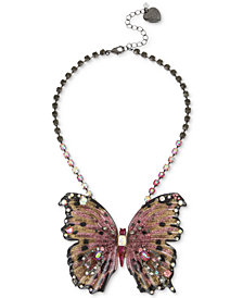 "Betsey Johnson Hematite Tone Glitter & Stone Large Butterfly Statement Necklace, 16"" + 3"" extender."