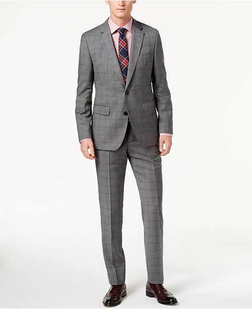 Hugo Boss Men's Modern-Fit Medium Gray Glen Plaid Suit Separates