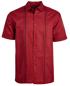Cubavera Men's Linen Cotton Insert Panel Short-Sleeve Shirt