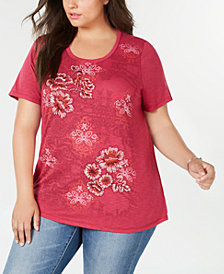 Style & Co Plus Size Floral-Print Embroidered Top, Created for Macy's