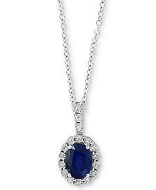 "EFFY® Sapphire (1-3/8 ct. t.w.) & Diamond Accent 18"" Pendant Necklace in 14k White Gold"