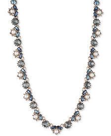 "Marchesa Gold-Tone Crystal, Stone & Imitation Pearl Collar Necklace, 16"" + 1"" extender"