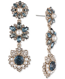 Marchesa Gold-Tone Crystal, Stone & Imitation Pearl Linear Drop Earrings