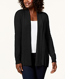 Plus Size Ribbed-Bottom Shawl-Collar Cardigan Sweater, Created for Macy's