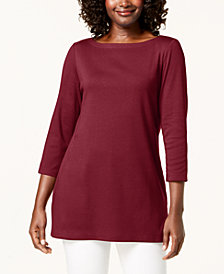 Karen Scott 3/4-Sleeve Cotton Boat-Neck Tunic, Created for Macy's