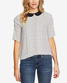 CeCe Printed Collar Top