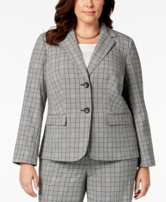 Plus Size Two-Button Plaid Jacket