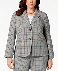 Nine West Plus Size Two-Button Plaid Jacket