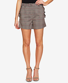 CeCe Glen-Plaid Lettuce-Edge Shorts