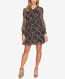 CeCe Floral-Print Smocked Fit & Flare Dress