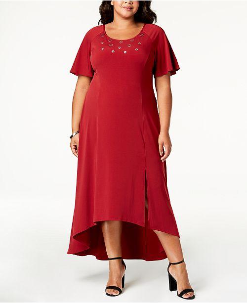 NY Collection Plus Size & Petite Plus Grommet-Trim Maxi Dress ...