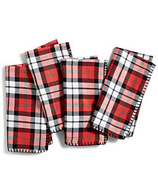 Bardwil Reversible Plaid Holiday Stag 4-Pc Napkin Set