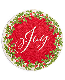 "Elrene Joy Holly Wreath Braided 15"" Round Placemat"