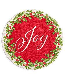 "Elrene Joy Holly Wreath Braided 15"" Round Placemat"