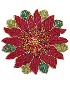"Leila's Linens 15"" Poinsettia Beaded Placemat"