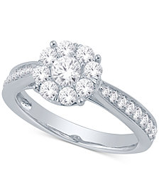 Diamond Flower Cluster Ring (1 ct. t.w.) in 14k White Gold