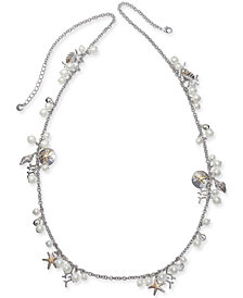 "Charter Club Two-Tone Charm & Imitation Pearl Sea Life Strand Necklace, 40"" + 2"" extender, Created for Macy's"