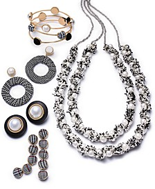 INC Two-Tone Fabric & Imitation Pearl Jewelry Separates, Created for Macy's