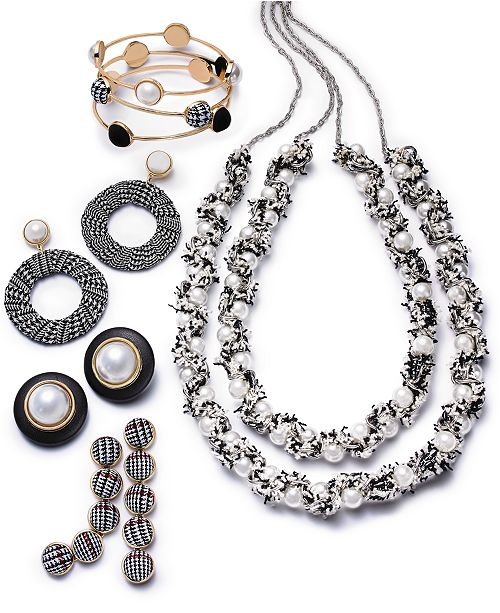 INC International Concepts I.N.C. Two-Tone Fabric & Imitation Pearl Jewelry Separates, Created for Macy's