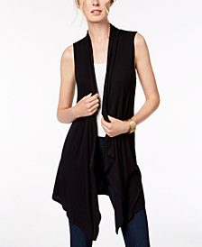 I.N.C. Ribbed Open-Front Vest, Created for Macy's