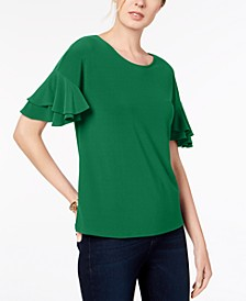 INC Petite Ruffled-Sleeve Top, Created for Macy's